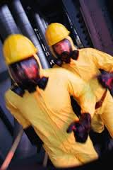 Remediation workers doing asbestos cleanup